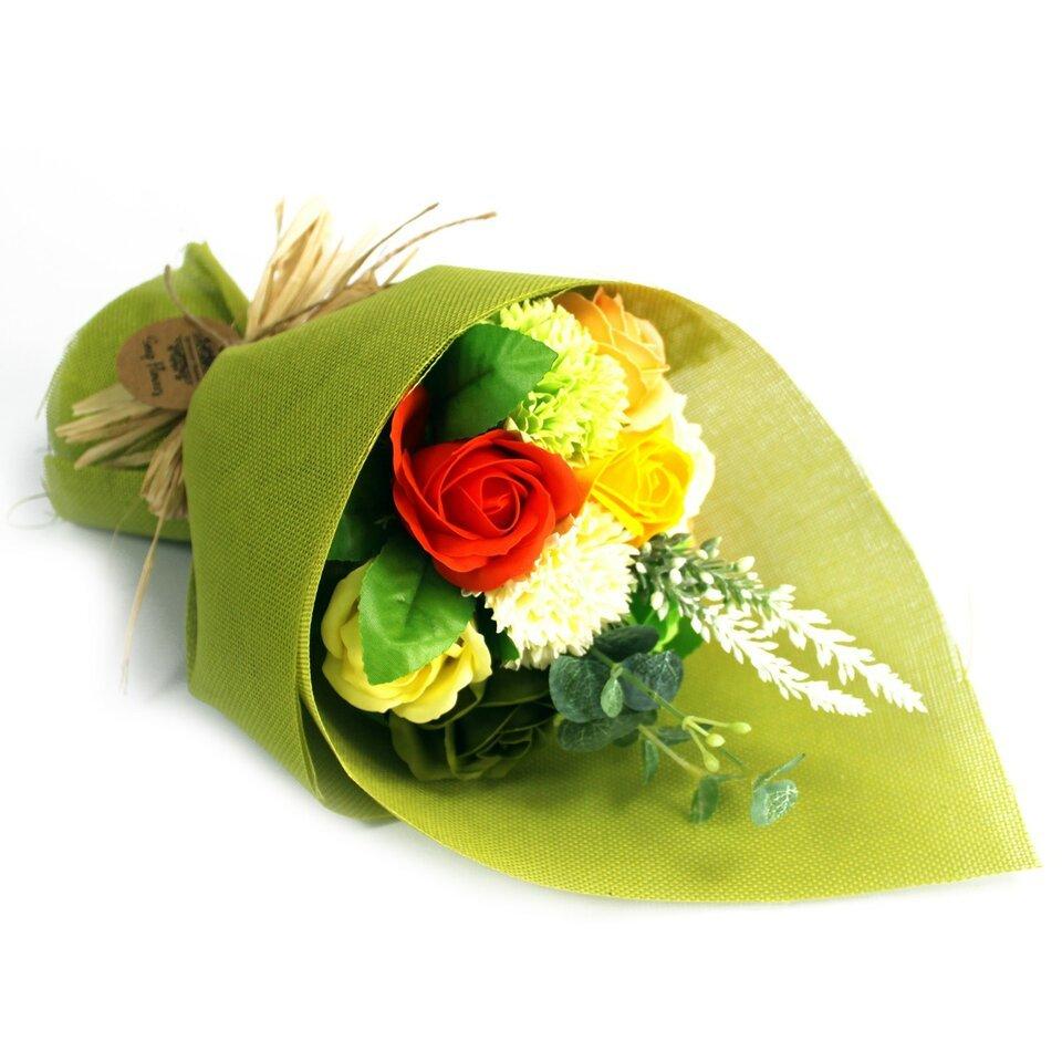Žalia muilo gėlių puokštė