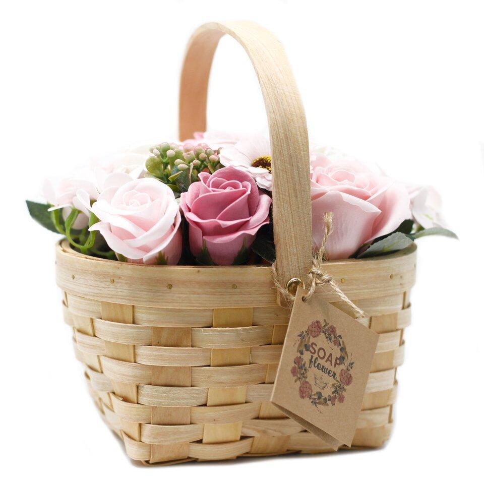 Rožinė puokštė krepšelyje 18x15x10 cm