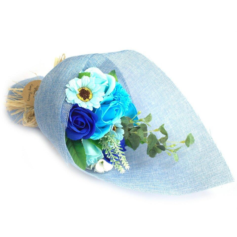 Mėlyna muilo gėlių puokštė